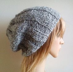 Fisherman hat ribbed slouchy beanie light silver gray by baboom