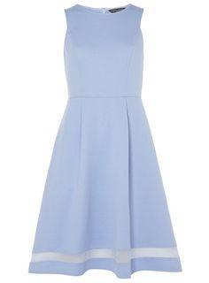 Blue sheer insert midi dress