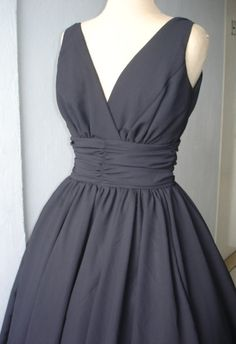A very elegant 50s style cocktail dress. Classic design in black chiffon. Can be customized like many others in our shop., via Etsy.