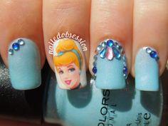 One of my favs Cinderella Nails, Disney Princess Nails, Disney Princess Cinderella, Disney Nails, Cinderella Tattoos, Cinderella Wedding, Princess Aurora, Nail Art Diy, Easy Nail Art