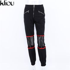 Harajuku 2018 Women's Hollow Out Pants Panelled Sexy Spliced Side Zipper Pants Sexy Outerwear Ankle Zipper Pant Hip Hop Dance Hip Hop Dance Outfits, Joggers With Zippers, Mesh Pants, Fashion Pants, Fashion Outfits, Jogger Pants, Diy Clothes, Black Pants, Capri