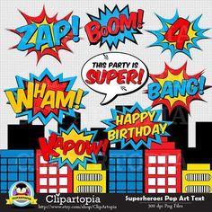 Superheroes Pop Art Text and Bubbles Clipart / Super hero Text and bubbles digit… Superhelden Pop-Art-Text und Blasen Clipart / Superheld Text und Blasen digitale ClipArt / Superheld Photobooth Requisiten Fiesta Pop Art, He Man Tattoo, Girl Clipart, Bd Pop Art, Kit Scrapbook, Scrapbooking, Pop Art Party, Book Clip Art, Mooncake