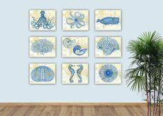 Nautical Sea Life Art Sea Creatures Prints Sea Fan Nursery Create Your Display Bathroom Decor Octopus Nautilus Sea Horse Whale Urchin