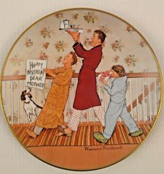 Norman Rockwell American Family Set of 2 Porcelain Collector Plates Wood Stands