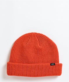 Throw some color into your chilly-weather looks with the Core Basic paprika beanie from Vans! This knit beanie features a spicy red-orange colorway for some eye-catching style, while the cuff design allows you to wear it high and tight or loose and laid back. Vans Logo, High And Tight, Chilly Weather, Knit Beanie, Caps Hats, Knitted Hats, Your Style, Beanies, Knitting