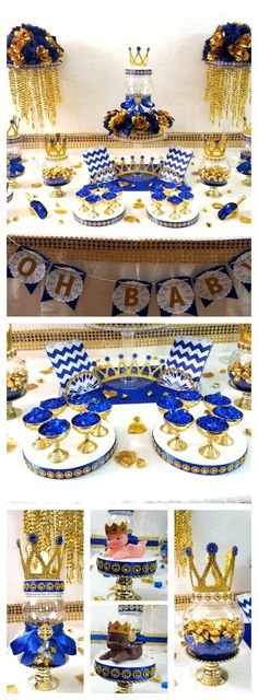 Royal Prince baby shower candy buffet centerpiece. Perfect for royal blue and gold Prince themed baby shower decorations.