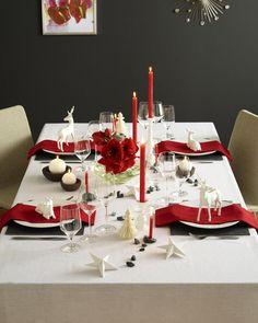 figura linda poinsettia papelito ciervos cena de navidad decoraciones de mesa