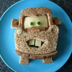 Love these Mater Disney Cars birthday sandwiches.  See more birthday parties for kids at www.one-stop-party-ideas.com