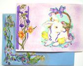 """Très jolie carte faite mains et son enveloppe décorée """" Le Lapin Blanc de Pâques """" : Cartes par matt-et-les-petits-cadeaux"""