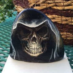 Grim Reaper painted in half rock for the Harley guy.  Wood putty base to stabilize.