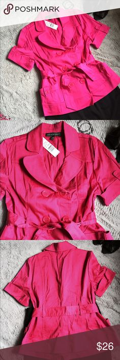 Pink Love double breasted belted jacket Great short sleeve pink jacket. Double breasted with belt tie and open pockets. Great to dress up or down. Harve Benard Jackets & Coats