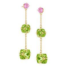 """Paolo Costagli """"Very PC"""" Pink Sapphire & Peridot 2-Drop Earrings"""