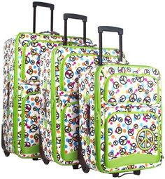 Ever Moda Green Peace Sign 3 Piece Expandable Luggage Set *** Find out more about the great product at the image link. Best Luggage, Luggage Sets, Old Suitcases, Amazon Associates, Travel Accessories, Peace, Sign, 3 Piece, Image Link