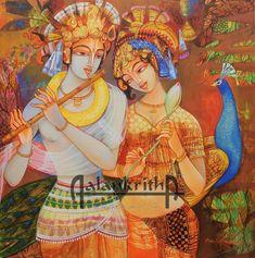 Radha Krishna by Ahobhilam Prabhaker Bal Krishna, Radha Krishna Images, Krishna Art, Krishna Photos, Radhe Krishna, Ancient Indian Paintings, Indian Art Paintings, Pichwai Paintings, Fantasy Paintings