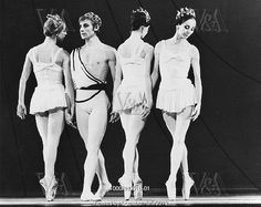 Laura Connor, David Wall (b.1946), Jennifer Penney (b.1946) and Merle Park (b.1937) in Symphonic Variations by The Royal Ballet at the Royal Opera House, photo Anthony Crickmay (b.1937). Choreography by Frederick Ashton (1904-88). Black and white photography. London, England, 1973.