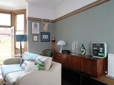 Farrow and Ball Pigeon colour . Living Room Green, Bedroom Green, Green Rooms, Living Room Interior, Home And Living, Master Bedroom, Farrow And Ball Bedroom, Wall Behind Bed, Oval Room Blue
