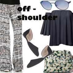 Look #15-Floral Plazzao - Off Shoulder Blouse - Flats