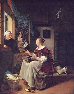 "11 февраля . ""A young lacemaker is interrupted by a birdseller who offers her ware through the window."" (Gemäldegalerie Alte Meister) Pieter Cornelisz van Slingelandt (20 October 1640 – 7 November 1691) was a Dutch Golden Age portrait painter who had been a pupil of Gerard Dou and is known as one of Leiden's fijnschilders."