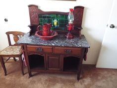 GORGEOUS VICTORIAN ART NOUVEAU WASHSTAND in Antiques, Furniture, Cabinets & Cupboards | eBay