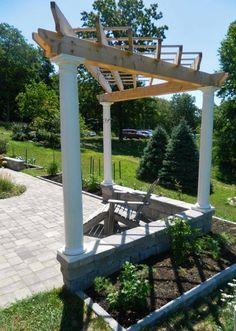 Landscaping And Outdoor Building Unique Triangular Pergola With Pillars Adirondack Chair
