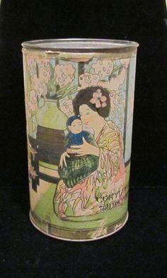 Antique Oriental Powder Tin 1906 Bourbon Brand Talcum Powder EXREMELY RARE