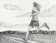 """""""Words as Value"""" Drawing Example for my High School Art Class.- By Sandy Blanc"""