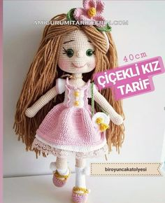 Amigurumi Çiçekli Kız Tarifi – Amigurumi Tariflerim – Tatlı tarifleri – Las recetas más prácticas y fáciles Baby Knitting Patterns, Crochet Toys Patterns, Stuffed Toys Patterns, Doll Patterns, Crochet Doll Pattern, Crochet Dolls, Crochet Baby, Diy Christmas Crackers, Amigurumi For Beginners