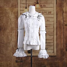 Long Sleeve White Cotton Sweet Lolita Blouse with Ribbon and Lace
