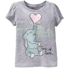 Disney Dumbo Tees For Baby Size 2T - Heather gray ($8.99) ❤ liked on Polyvore featuring kids clothes