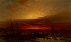 Sonnenuntergang an der Nordsee / Sunset at the North Sea, 1880, Hans Schleich. Germany (1834 - 1912).  a man with a past