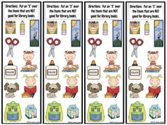 "Taking care of books is an important lesson to go over with the students in the beginning of the school year.  I usually start out reading the book ""Mr. Wiggle's Library"" and ""Mr. Wiggle's Book"" by Paula M. Craig and Carol L. Thompson.  I found this really cute idea last year (I'm trying to find...  Read more"