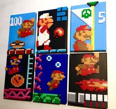 Items similar to Super Mario Retro Gaming Scenes. Perler Beads on Canvas. on Etsy Perler Beads, Perler Bead Mario, Fuse Beads, Hama Beads Patterns, Beading Patterns, Mario Bros, Animation Pixel, Super Mario, Mario Crafts