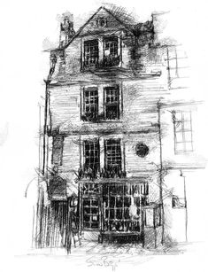 Manga Drawing Ideas - The Sally Lunn shop in Bath House Drawing, Life Drawing, Drawing Tips, Drawing Ideas, Shops In Bath, Epic Drawings, Pictures Of Insects, Pastel House, Figure Drawing Reference