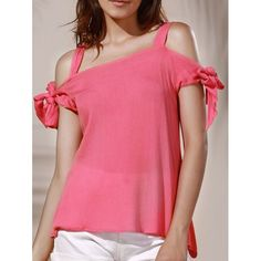 Chic Spaghetti Strap Solid Color Cut Out Women's Blouse — 8.10 € Size: XL Color: LIGHT PINK