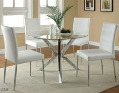 NEW 5PC VINCE ROUND GLASS CHROME METAL DINING TABLE SET W/ WHITE CHAIRS