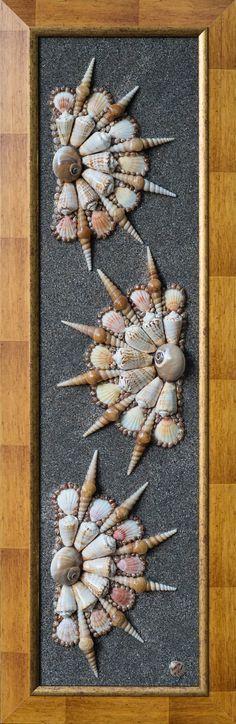 """Medios mixtos de conchas de mar arte, mosaico arte moderno Original, regalo único de la imagen, decore casa, abstracción, marco de madera de pared cuadro """"Abanicos de mar"""""""