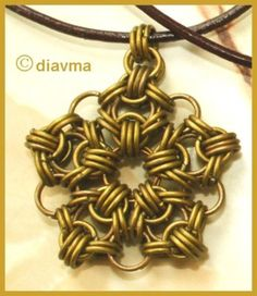 Handcrafted Chainmaille Bronze Pendant Leather Necklace