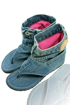 Jeans sandal boots, via Etsy.