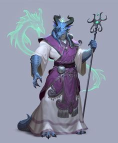 Dragon born / dragonborn summoner with a dramatic staff blue dragon with horns DnD / Pathfinder character concept inspiration (could also be a sorcerer) Fantasy Character Design, Character Design Inspiration, Character Concept, Character Art, Fantasy Races, Fantasy Rpg, Fantasy Artwork, Dungeons And Dragons Characters, Dnd Characters
