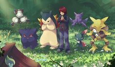 Here we see a lot of cute pokemon and their trainers. They are praying at a shrine. Alakazan has fallen asleep. Meanwhile, a celebi is looking on out of curiousity.
