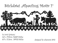 Stickdatei Scherenschnitt: Alpaufzug, Motiv 1 von schererei auf DaWanda.com Diamond Are A Girls Best Friend, Paper Cutting, Home Crafts, Moose Art, Cricut, Drawings, Switzerland, Scrap, Patterns