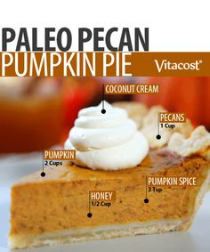 "Following the Paleo diet doesn't mean you have to forgo everyone's favorite seasonal recipes. With all the wonderful holiday flavors packed into this paleo pumpkin pie, you'll never miss the ""traditional"" crust – I promise!  [[I've never been a big crust person anyway!]]"