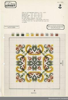 Broderi: Gunnar Pedersen AS Cross Stitching, Cross Stitch Embroidery, Cross Stitch Patterns, Square Patterns, Purse Patterns, Floral Embroidery, Needlepoint, Miniatures, Bullet Journal