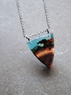 Resin Wood Necklace Sea Green Pendant Moss necklace