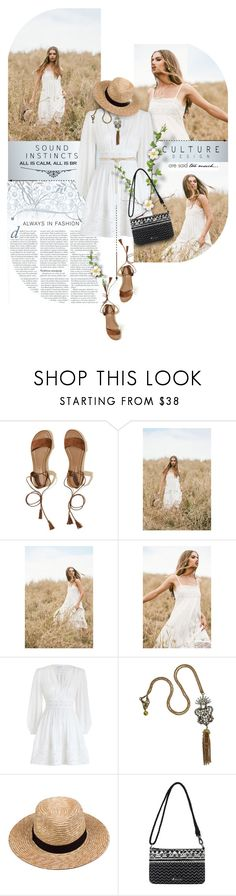"""""""White boho"""" by kseniz13 ❤ liked on Polyvore featuring Hollister Co., Zimmermann, Lulu Frost, Lack of Color, Sakroots and Maje"""