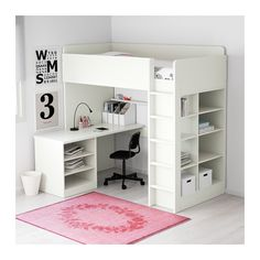 IKEA - STUVA, Loft bed with 2 doors, white/blue, , You can assemble… - Zimmer Pin Cute Bedroom Ideas, Girl Bedroom Designs, Bed Ideas, Decor Ideas, Bed Designs, Loft Ideas, Small Childrens Bedroom Ideas, Boys Bedroom Ideas 8 Year Old, Decorating Ideas