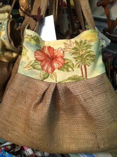 Burlap purse with vintage look beach scene print by RagBagHagShop, $30.00