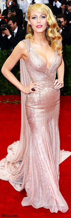 Blake Lively wore a custom-made Gucci Premiere gown to the MET Gala 2014