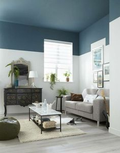 Ceiling paint colors - Adorable Home Interior Design Ideas To Try – Ceiling paint colors Best Ceiling Paint, Ceiling Paint Colors, Colored Ceiling, Ceiling Paint Ideas, Dark Ceiling, Ceiling Design, Ceiling Lights, Living Room Paint, Interior Design Living Room