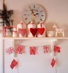 red and white Christmas...  like the hearts hanging on the canisters